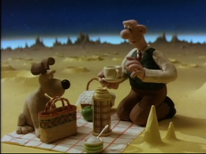 Wallace and Gromit go to the moon for cheese