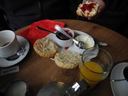 Cream Tea at the Fox Café in Princetown, located close to the infamous Dartmoor prison. Dartmoor is a region of the county of Devon in the UK.
